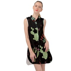 Cartoon African Cactus Seamless Pattern Sleeveless Shirt Dress by Vaneshart
