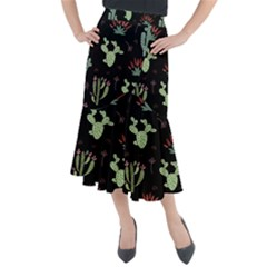 Cartoon African Cactus Seamless Pattern Midi Mermaid Skirt