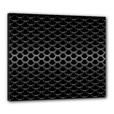 Black Metallic Hexagon Mesh Pattern Background Canvas 24  X 20  (stretched)