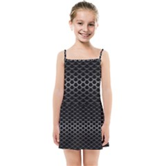 Black Metallic Hexagon Mesh Pattern Background Kids  Summer Sun Dress