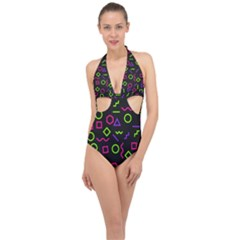 Geometric Seamless Pattern Halter Front Plunge Swimsuit by Vaneshart