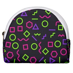 Geometric Seamless Pattern Horseshoe Style Canvas Pouch