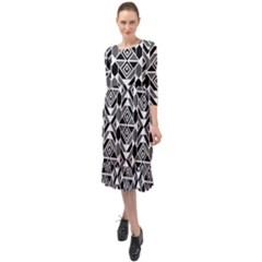 Graphic Design Decoration Abstract Seamless Pattern Ruffle End Midi Chiffon Dress