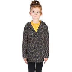 Hexagon Black Background Kids  Double Breasted Button Coat by Vaneshart