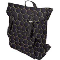 Hexagon Black Background Buckle Up Backpack