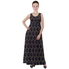 Hexagon Black Background Empire Waist Velour Maxi Dress by Vaneshart