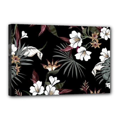 Beautiful Artistic Dark Tropical Pattern Canvas 18  X 12  (stretched)