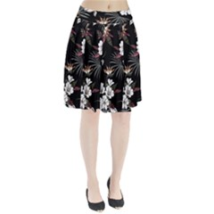 Beautiful Artistic Dark Tropical Pattern Pleated Skirt