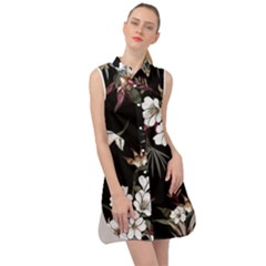 Beautiful Artistic Dark Tropical Pattern Sleeveless Shirt Dress by Vaneshart
