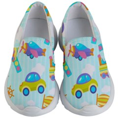 Transport Toy Seamless Pattern Kids  Lightweight Slip Ons by Vaneshart