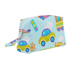 Transport Toy Seamless Pattern Wristlet Pouch Bag (medium) by Vaneshart
