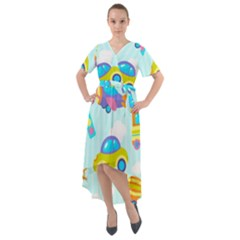 Transport Toy Seamless Pattern Front Wrap High Low Dress by Vaneshart
