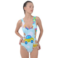 Transport Toy Seamless Pattern Side Cut Out Swimsuit
