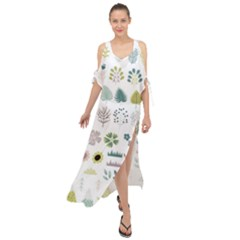 Cute Flowers Plants Big Collection Maxi Chiffon Cover Up Dress