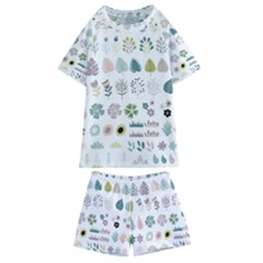 Cute Flowers Plants Big Collection Kids  Swim Tee And Shorts Set by Vaneshart