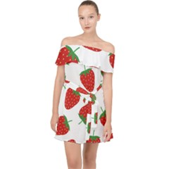 Seamless Pattern Fresh Strawberry Off Shoulder Chiffon Dress