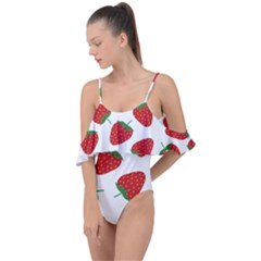 Seamless Pattern Fresh Strawberry Drape Piece Swimsuit by Vaneshart
