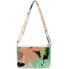 Abstract Seamless Pattern With Tropical Leaves Hand Draw Texture Vector Double Gusset Crossbody Bag