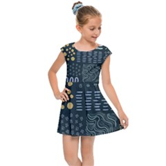 Mixed Background Patterns Kids  Cap Sleeve Dress