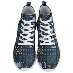 Mixed Background Patterns Men s Lightweight High Top Sneakers