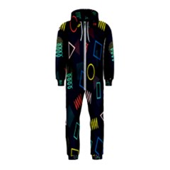 Memphis Seamless Patterns Abstract Jumble Textures Hooded Jumpsuit (kids)