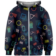 Memphis Seamless Patterns Abstract Jumble Textures Kids  Zipper Hoodie Without Drawstring