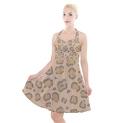 Leopard Print Halter Party Swing Dress  by Sobalvarro