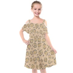 Leopard Print Kids  Cut Out Shoulders Chiffon Dress by Sobalvarro