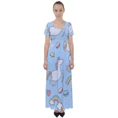 Unicorn Seamless Pattern Background Vector High Waist Short Sleeve Maxi Dress