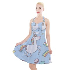 Unicorn Seamless Pattern Background Vector Halter Party Swing Dress  by Sobalvarro