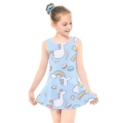 Unicorn Seamless Pattern Background Vector Kids  Skater Dress Swimsuit by Sobalvarro