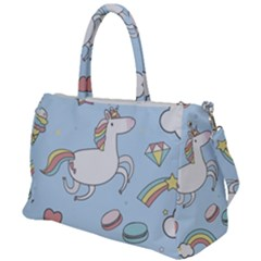 Unicorn Seamless Pattern Background Vector Duffel Travel Bag by Sobalvarro