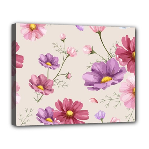 Vector Hand Drawn Cosmos Flower Pattern Canvas 14  X 11  (stretched) by Sobalvarro