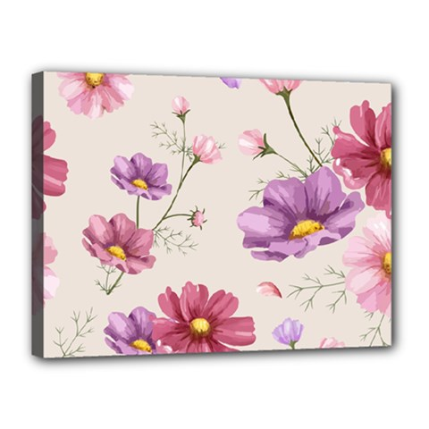 Vector Hand Drawn Cosmos Flower Pattern Canvas 16  X 12  (stretched) by Sobalvarro