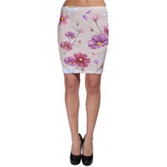 Vector Hand Drawn Cosmos Flower Pattern Bodycon Skirt by Sobalvarro