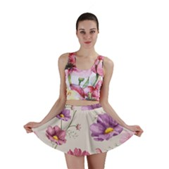 Vector Hand Drawn Cosmos Flower Pattern Mini Skirt by Sobalvarro