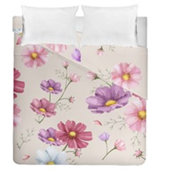 Vector Hand Drawn Cosmos Flower Pattern Duvet Cover Double Side (queen Size) by Sobalvarro