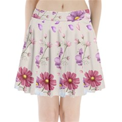 Vector Hand Drawn Cosmos Flower Pattern Pleated Mini Skirt by Sobalvarro