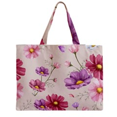 Vector Hand Drawn Cosmos Flower Pattern Medium Tote Bag by Sobalvarro