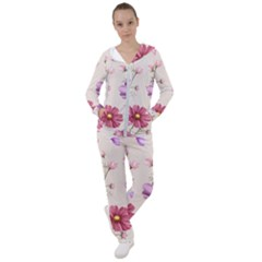 Vector Hand Drawn Cosmos Flower Pattern Women s Tracksuit by Sobalvarro