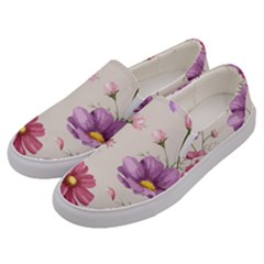 Vector Hand Drawn Cosmos Flower Pattern Men s Canvas Slip Ons by Sobalvarro