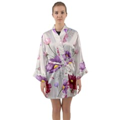 Vector Hand Drawn Cosmos Flower Pattern Long Sleeve Satin Kimono by Sobalvarro