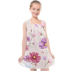 Vector Hand Drawn Cosmos Flower Pattern Kids  Cross Back Dress by Sobalvarro