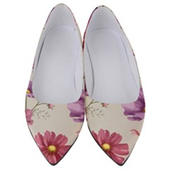 Vector Hand Drawn Cosmos Flower Pattern Women s Low Heels by Sobalvarro