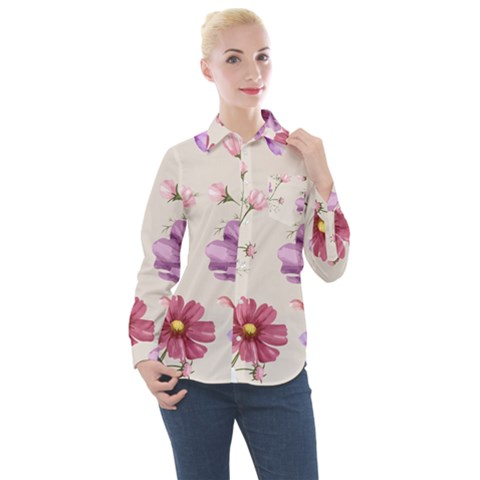 Vector Hand Drawn Cosmos Flower Pattern Women s Long Sleeve Pocket Shirt by Sobalvarro