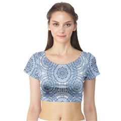 Boho Pattern Style Graphic Vector Short Sleeve Crop Top by Sobalvarro
