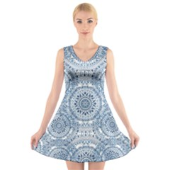 Boho Pattern Style Graphic Vector V-neck Sleeveless Dress by Sobalvarro