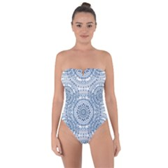 Boho Pattern Style Graphic Vector Tie Back One Piece Swimsuit by Sobalvarro