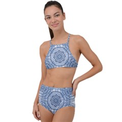 Boho Pattern Style Graphic Vector High Waist Tankini Set by Sobalvarro