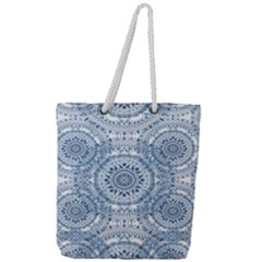 Boho Pattern Style Graphic Vector Full Print Rope Handle Tote (large) by Sobalvarro
